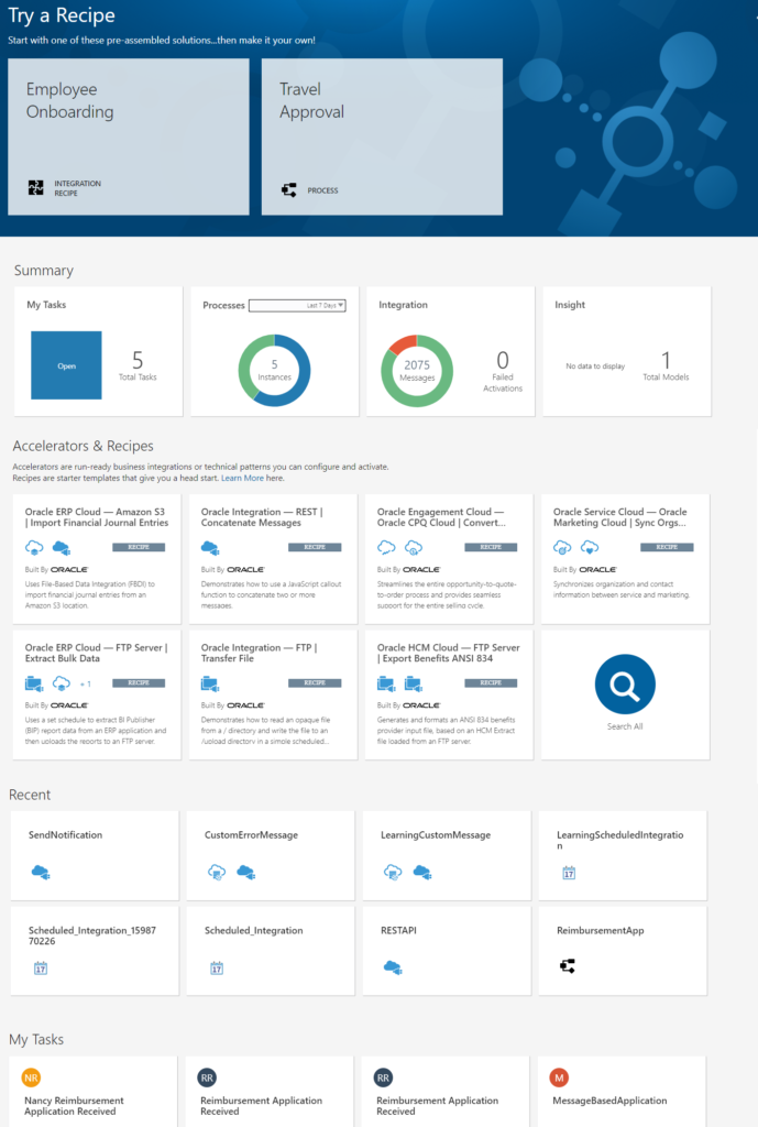 Oracle Integration Cloud New Home page