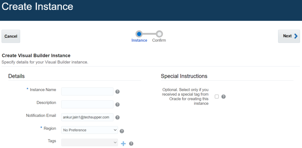 Provisioning Oracle Visual Builder Cloud  Service